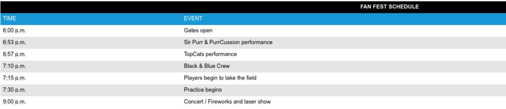 Panthers Fan fest Schedule 07.18.16