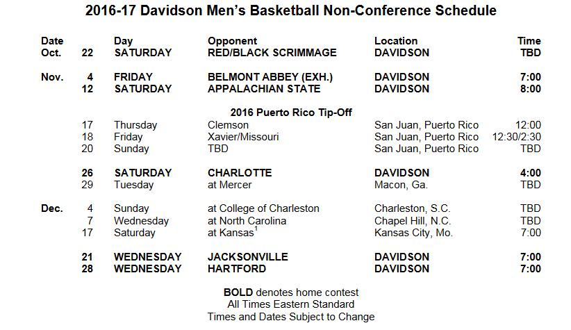Davidson NonConfSchedule