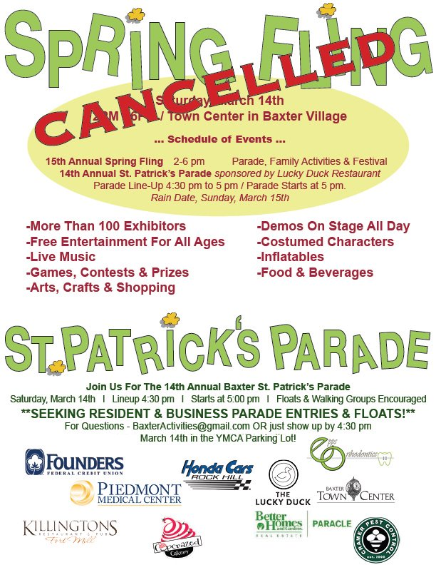 St. Patrick's Spring Fling Cancelled